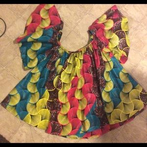 Multi-Colored African Print Top- NWOT
